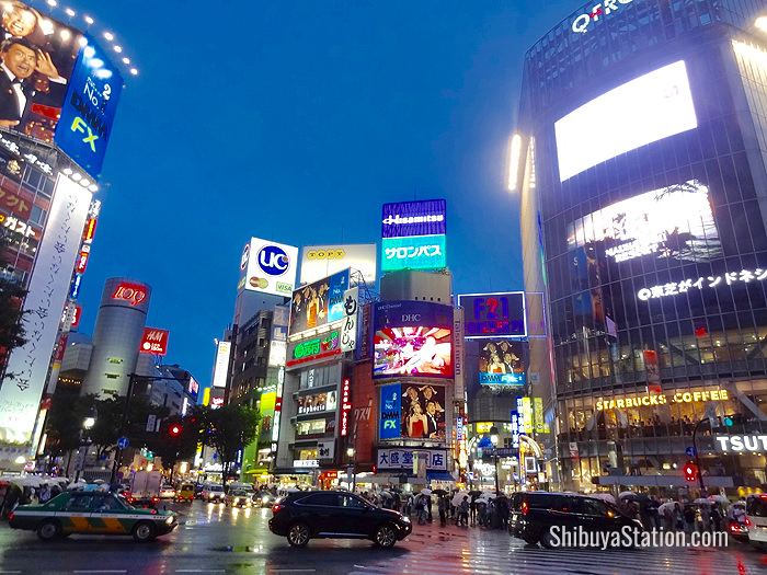 At night, Shibuya Station's west side comes alive with glowing signs