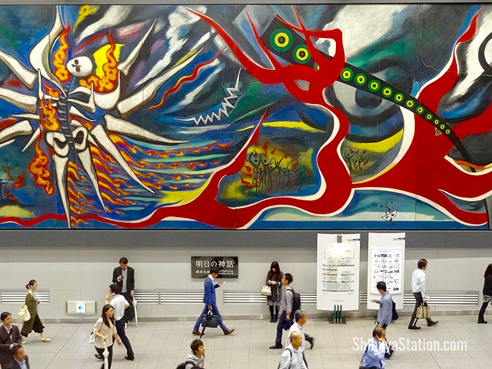 This giant mural by Taro Okamoto depicts the atomic bombings of Hiroshima and Nagasaki in 1945