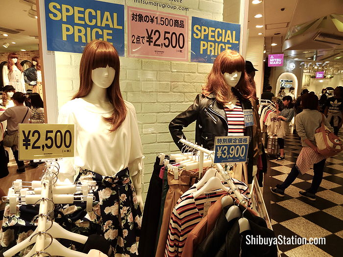 Mitsumaru Ingi in Shibuya 109 sells low-priced casual wear for girls and young women