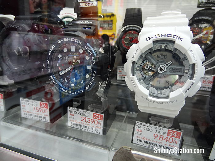 Some of the latest Casio G Shock watches at Bic Camera's Hachiko store