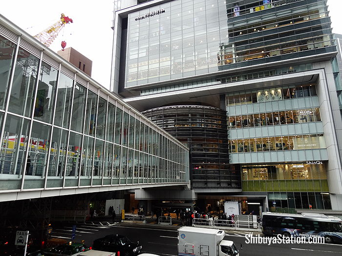 A footbridge connects Shibuya Station with Hikarie, a multipurpose complex with several ShinQs floors of food and shopping options