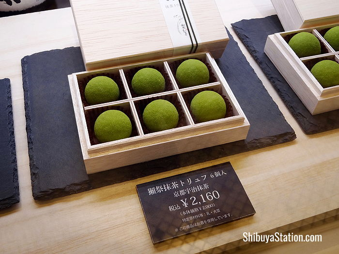 Matcha-flavored truffles at Hikarie's food basement