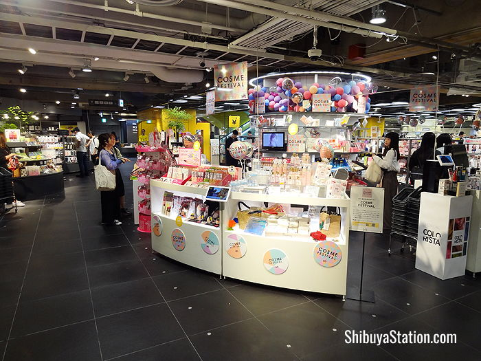 A cosmetics counter on the ground floor of Loft Shibuya