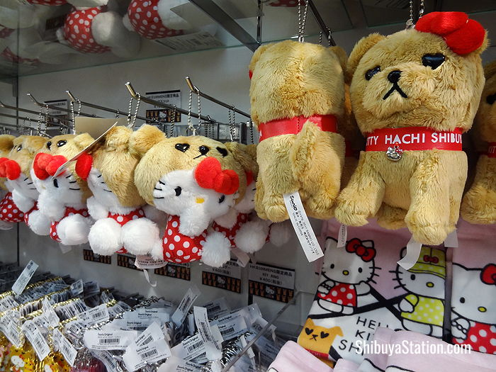 Hello Kitty and Hachiko stuffed toys at Shibuya 109Men's Department Store