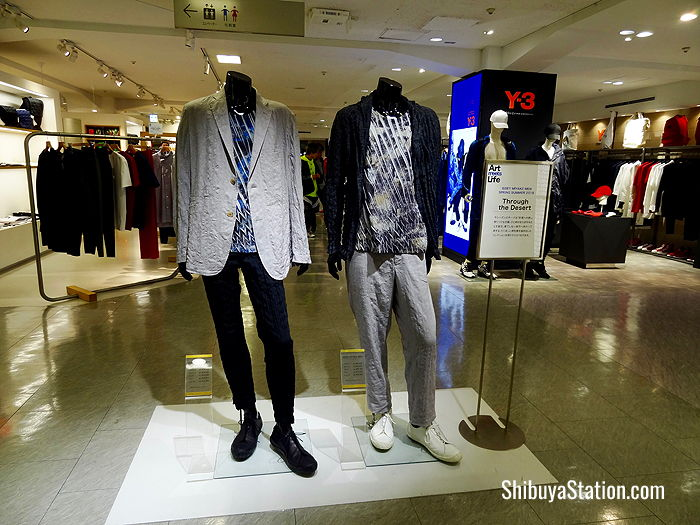 Issey Miyake 2018 spring/summer menswear on display at Seibu Department Store in Shibuya
