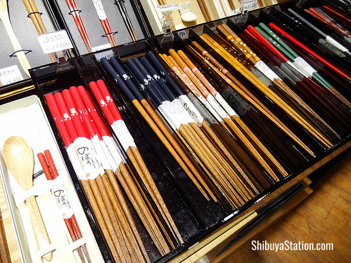 Colorful chopsticks on the seventh floor at Tokyu Department Store's Toyoko branch at Shibuya Station