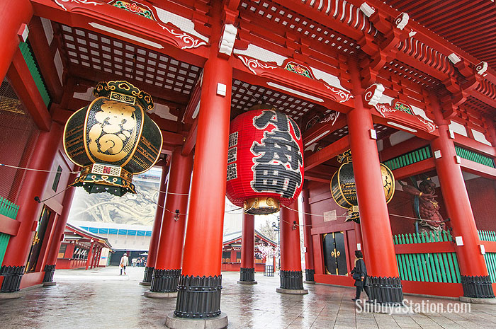 The Kaminarimon Gate leads to Nakamise-dori, the approach to Asakusa's Sensoji temple