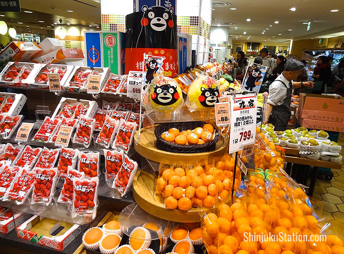 Citrus fruit in packages featuring Kumamon, a popular character representing Kumamoto Prefecture