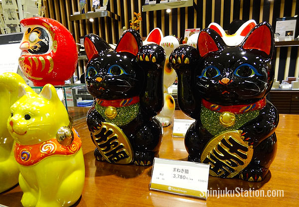 Manekineko cats and Daruma dolls are some of the traditional Japanese souvenirs at Takashimaya