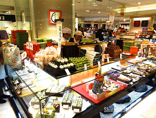 Takashimaya's food basement features many kinds of wagashi traditional sweets