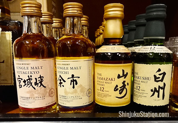 Mini single-malt Japanese whiskies in the Takashimaya wine shop