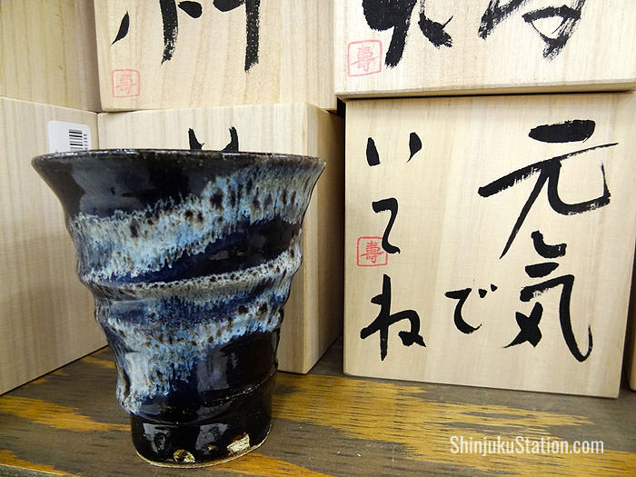 The fourth floor also has ceramic cups with traditional designs and wooden boxes featuring calligraphy that are sold as sets