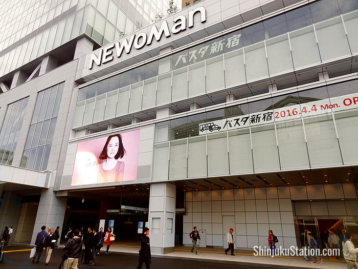 The new bus terminal has several exterior entrances including this one on Koshu-Kaido Street, which also grants access to the NEWoMan mall