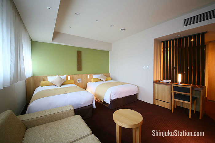 A deluxe twin room at Hotel Gracery Shinjuku