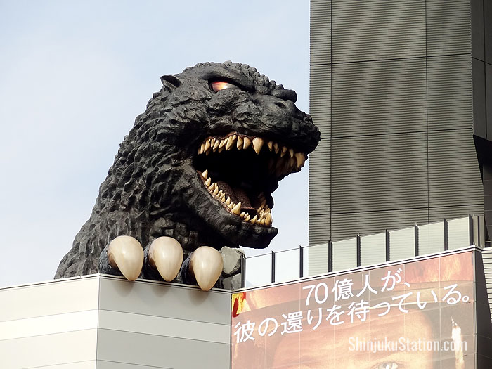 Godzilla looks out over Kabukicho from Hotel Gracery