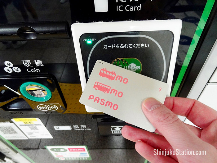 A card reader for Suica and Pasmo stored-value cards