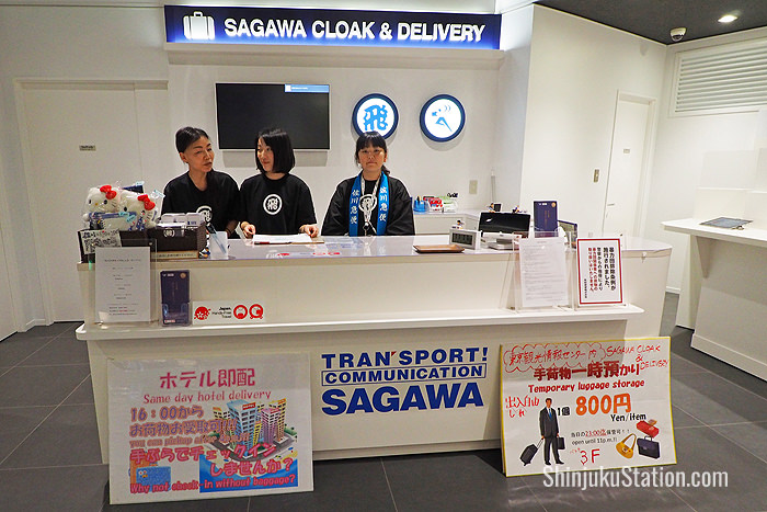 Sagawa Cloak & Delivery at the Tokyo Tourist Information Center in Basuta Shinjuku Expressway Bus Terminal