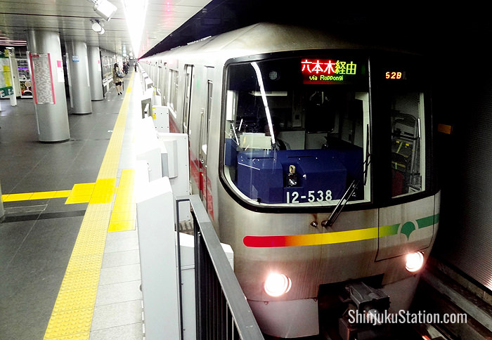 A Toei Oedo Line subway bound for Hikarigaoka