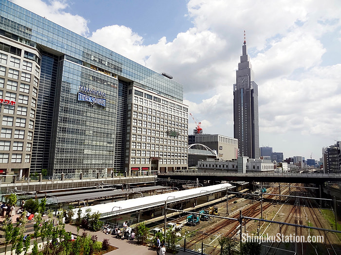 The view of the Shinjuku Southern Terrace shopping area and the NTT DoCoMo Yoyogi Tower from the New South Exit plaza