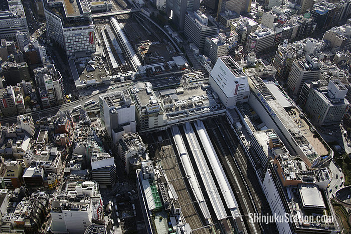 Aerial view of Shinjuku Station