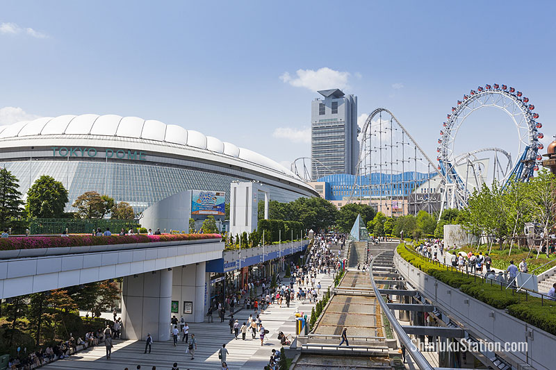 Korakuen Station is by Tokyo Dome City, home to a baseball stadium, amusement park and spa
