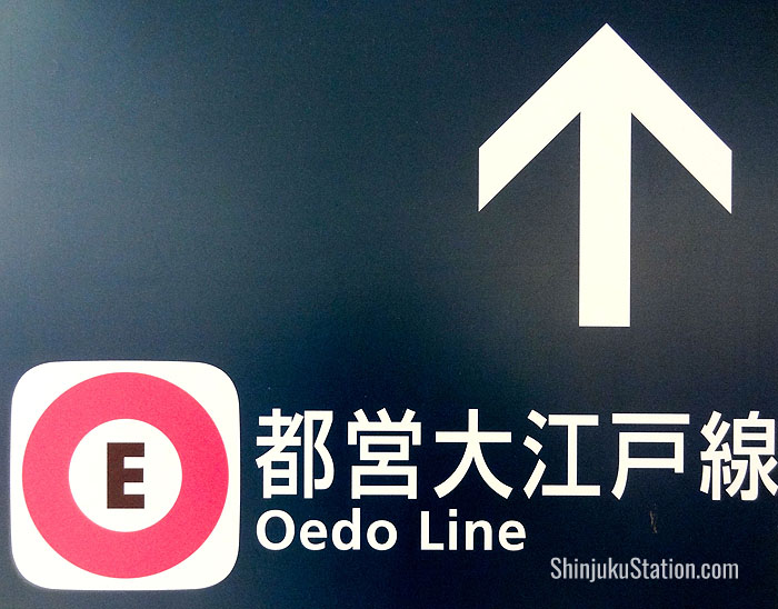The Oedo Line is coded purple, with the letter E preceding its alphanumeric station codes