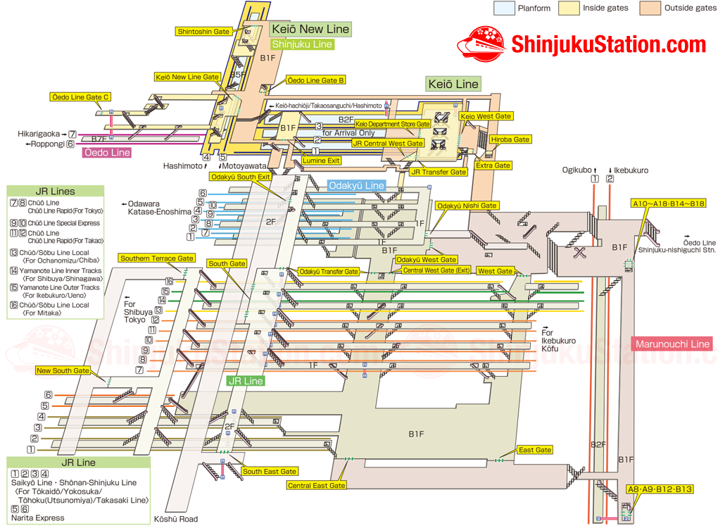 Tokyo Subway Map In English In The Station.Shinjuku Station Map Finding Your Way Shinjuku Station