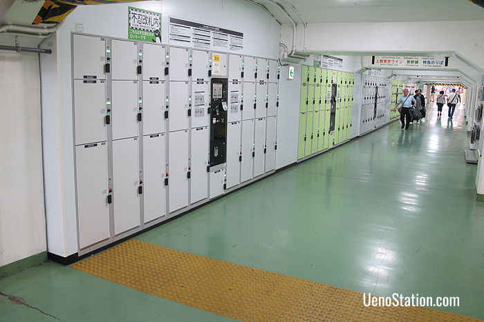A large bank of lockers inside the Shinobazu Ticket Gates of JR Ueno Station