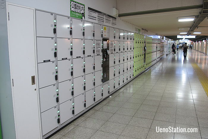 A large bank of lockers inside the Park Ticket Gates