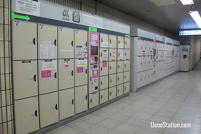There are a large number of both key and automatic lockers at Keisei Ueno Station