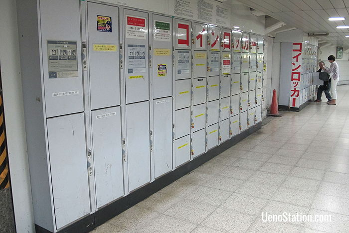 Key lockers close to Exit 9 and the Ginza Line JR Ueno Station District Gate