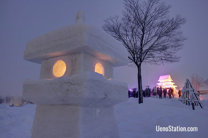 The Snow Lantern Festival at Yonezawa's Uesugi Shrine is held every February