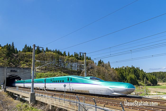 Hokkaido Shinkansen train coming out of the Seikan Tunnel