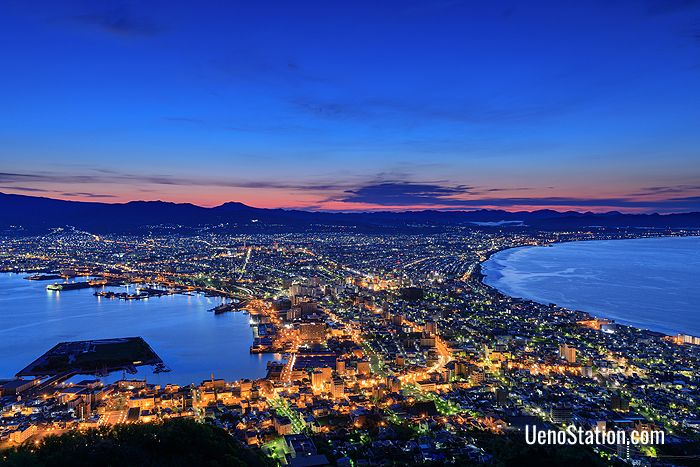 The spectacular night view over Hakodate