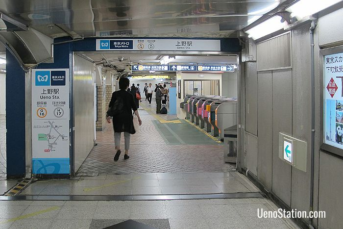 Approaching Ueno Subway Station via the underground passageway