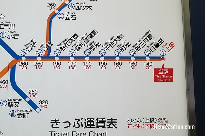 A section of the bilingual fare chart