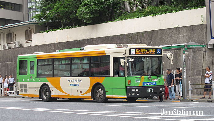 Catching a Toei city bus in Ueno