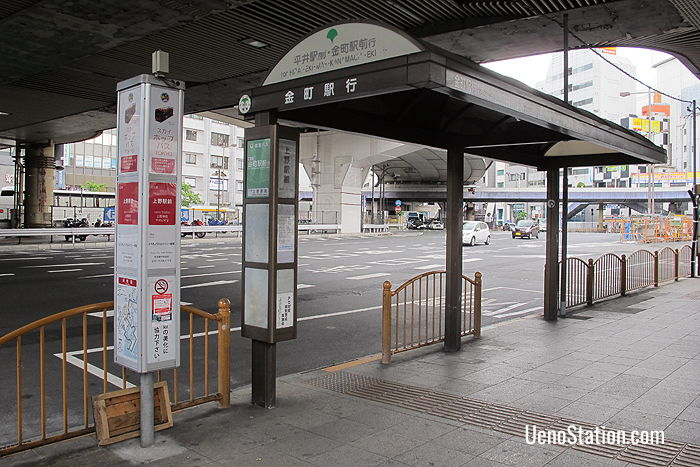 The weekend Sky Hop bus stop in front of JR Ueno Station