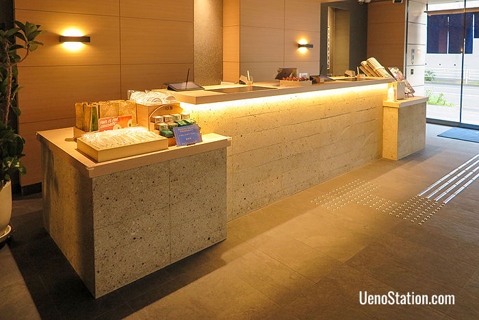 The hotel reception desk