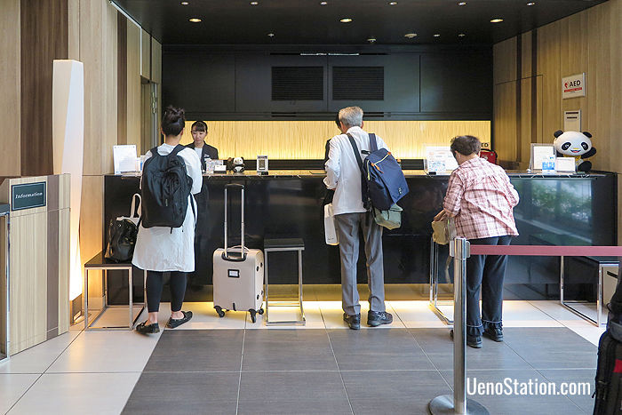The 24-hour front desk at Mitsui Garden Hotel Ueno