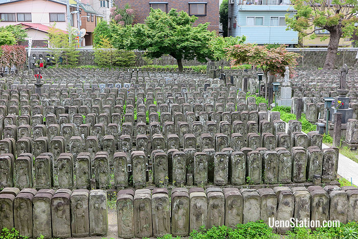 The Jizo images at Jomyoin are set up in parallel rows