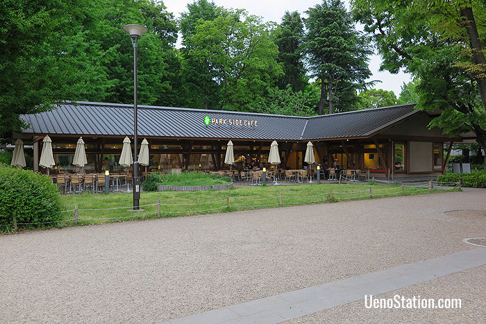 The Park Side Café is located in the center of Ueno Park