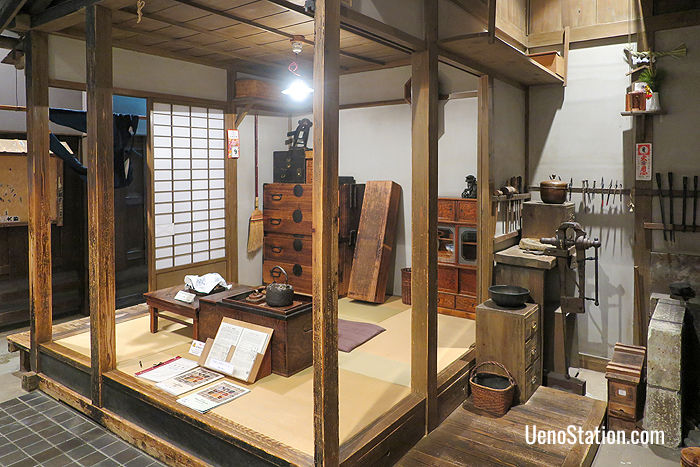A recreated doko-ya or coppersmith's workshop