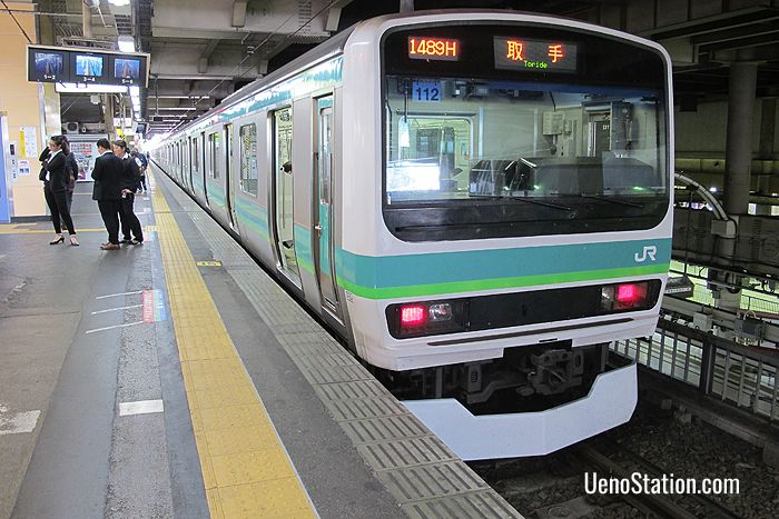 A Joban Line Rapid Service bound for Toride at Platform 12 JR Ueno Station
