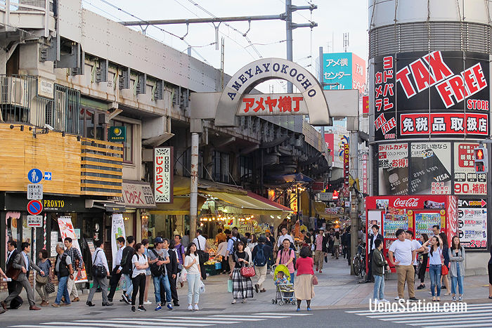 The entrance to Ameya-Yokocho (Ameyoko) market