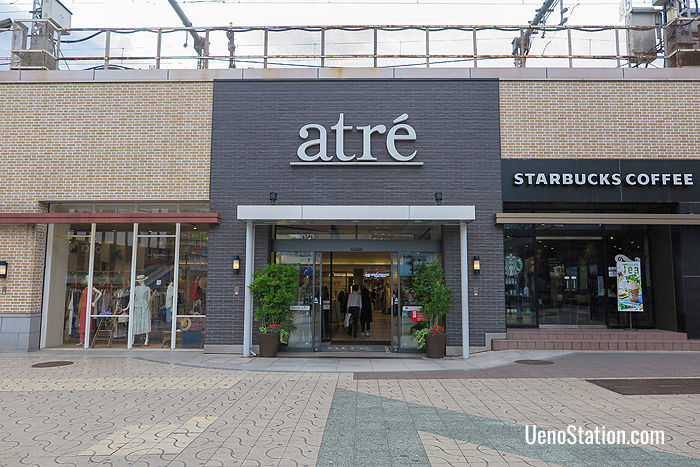 An outside entrance to Atre at Ueno Station