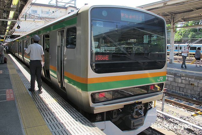 An Ueno-Tokyo Line service bound for Atami at Platform 7 JR Ueno Station