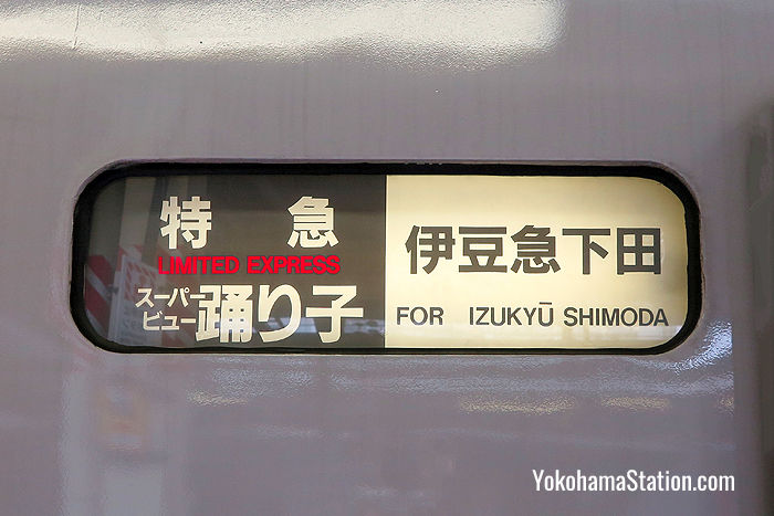 A carriage banner on the Super View Odoriko