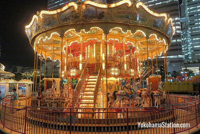 A merry-go-round in the Kids Carnival Zone. One ride is 300 yen