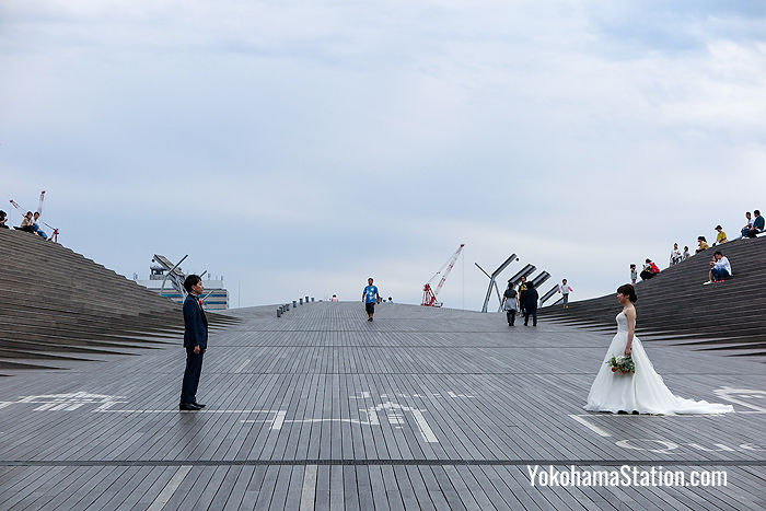 A couple have their wedding photos taken on the roof